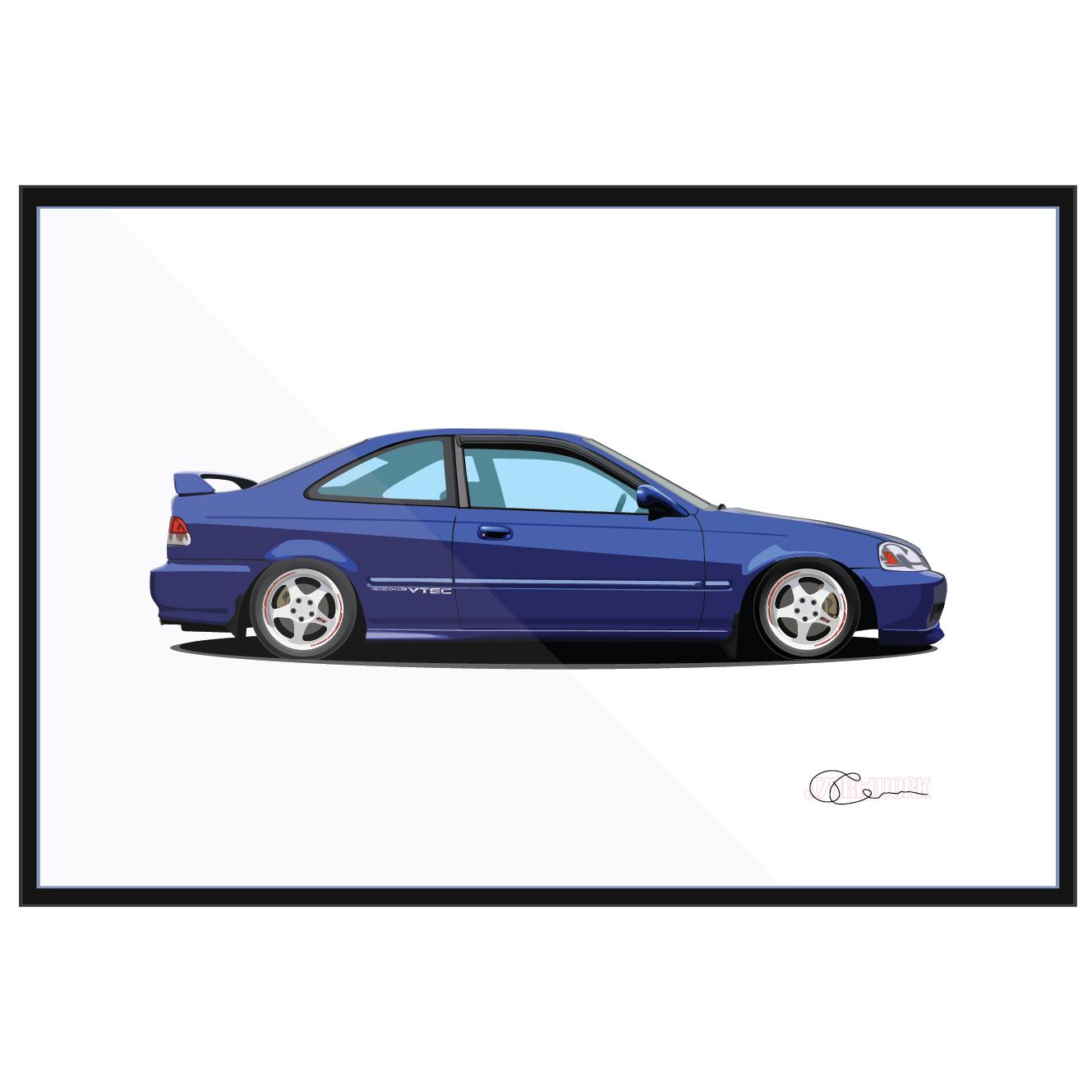 Captivating 1999 Honda Civic Si Print