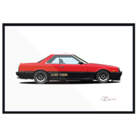 1984 Nissan Skyline DR30 red and black with Shakotan