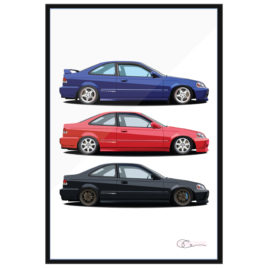 1999 Honda Civic Si and Friends print