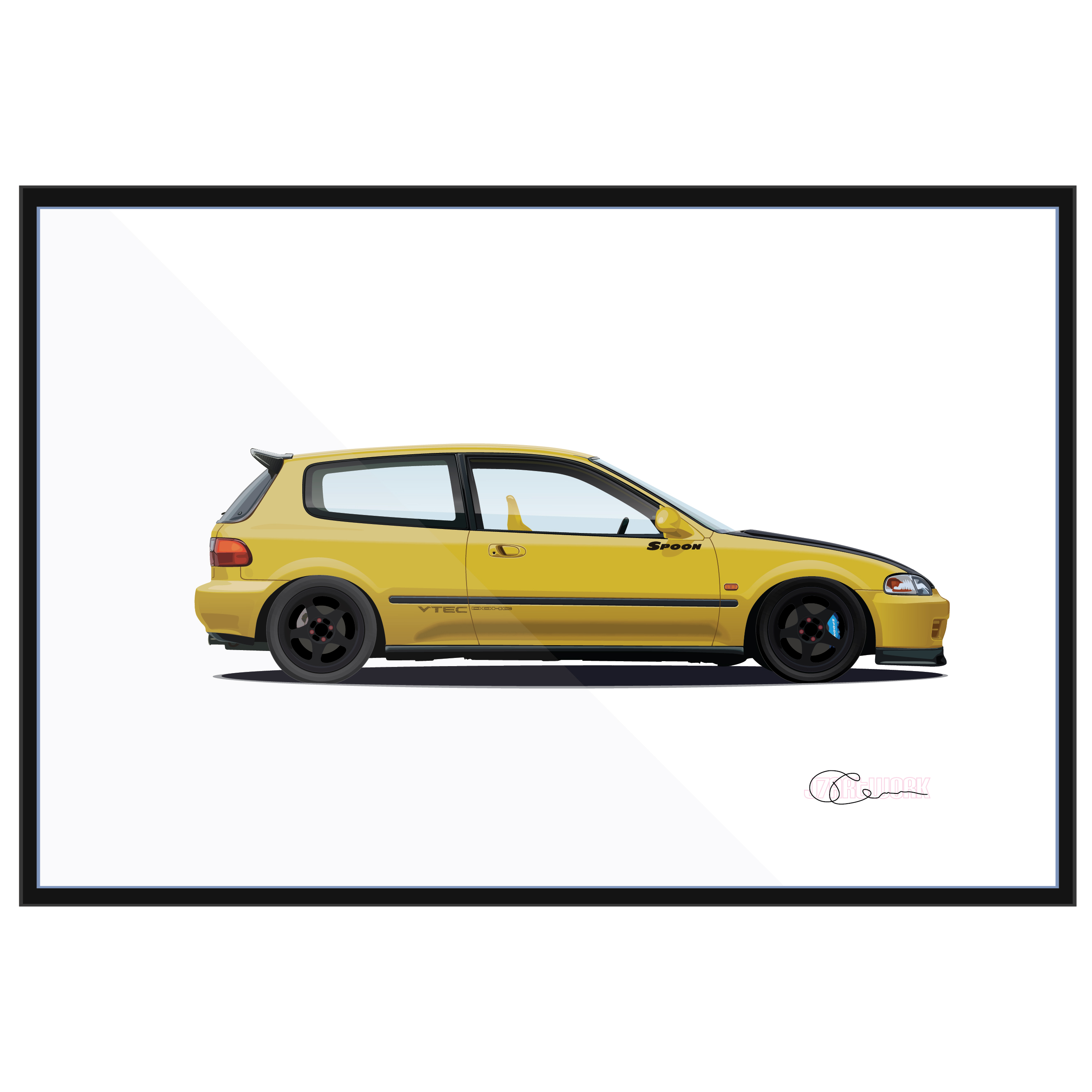 honda civic eg spoon yellow j7artwork. Black Bedroom Furniture Sets. Home Design Ideas