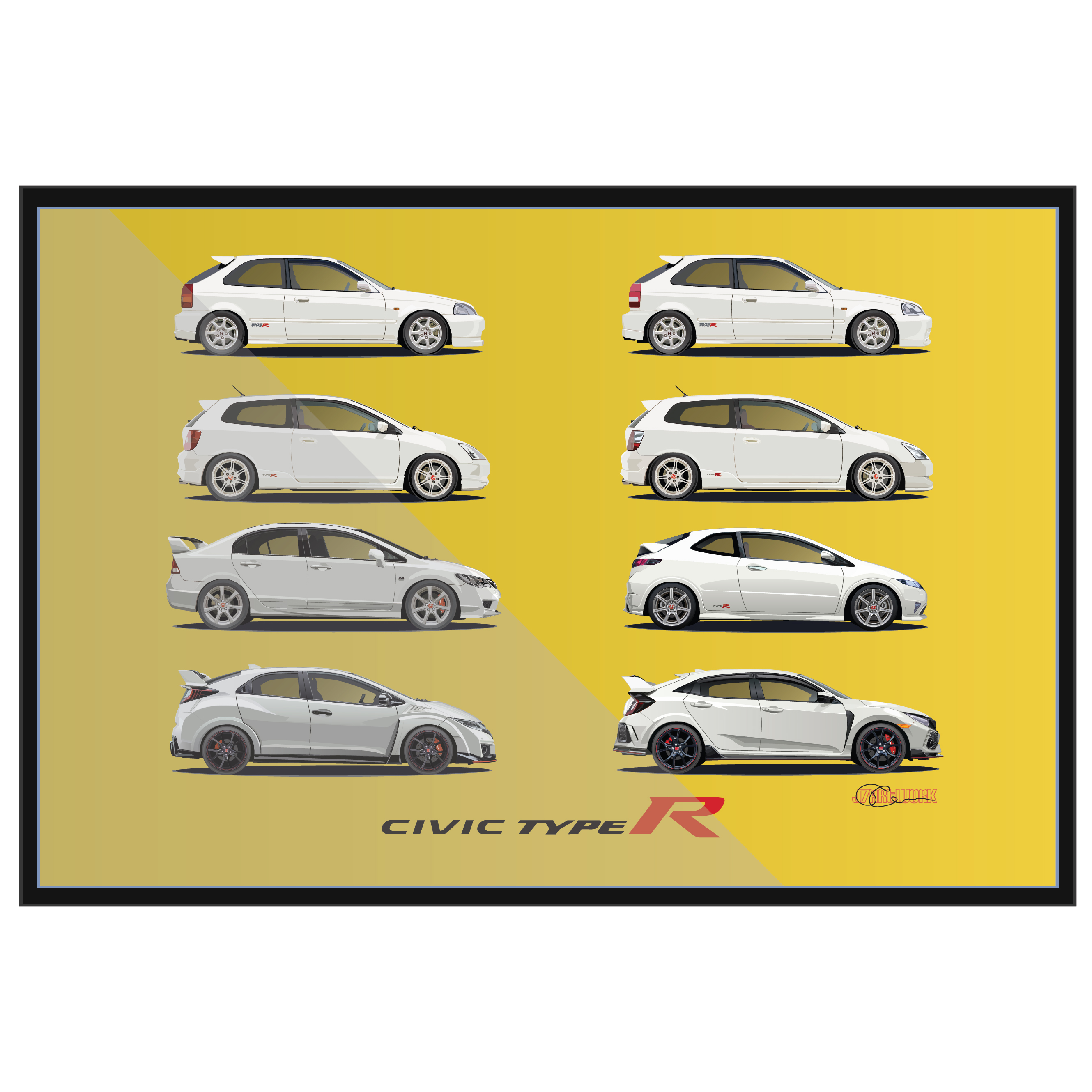 Civic Type R white with yellow (EK9, EP3, FN2, FD2, FK2, FK8) – J7Artwork